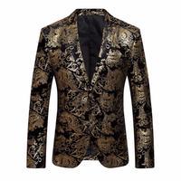 패션 MUQGEW 남성 드레스 꽃 정장 노치 옷깃 슬림 세련된 골드 재킷 정장 코트 르 의상 des 병력 # AA