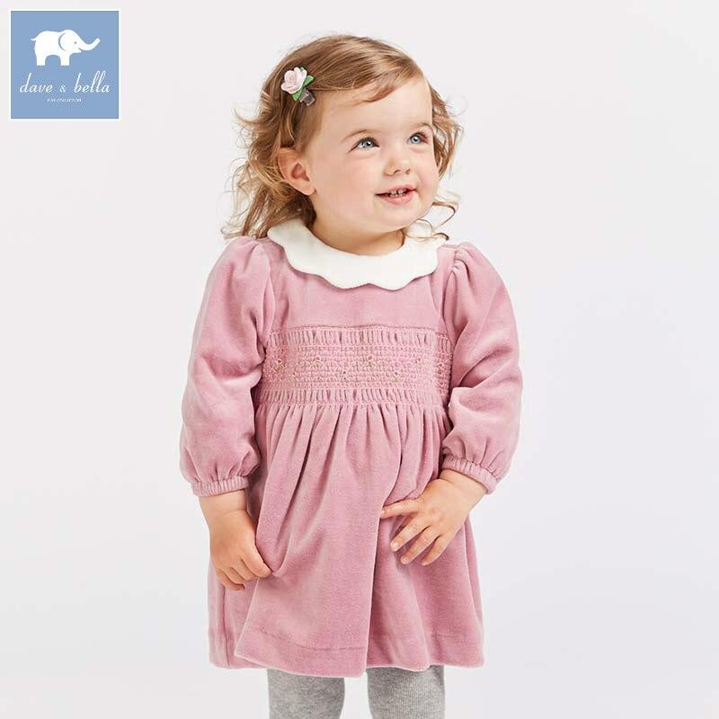 DB8692 dave bella autumn Princess baby dresses girls Lolita dress children long sleeve high quality dress shirred sleeve high slit dress