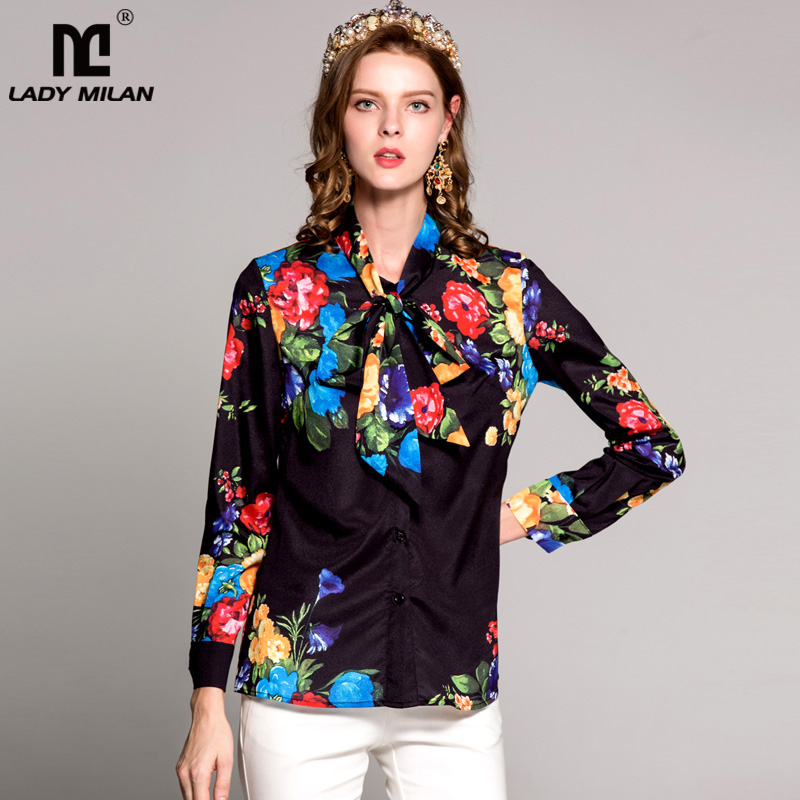 New Arrival 2018 Spring Womens O Neck Sash Bow Detailing Long Sleeves Floral Printed High Street Fashion Shirts