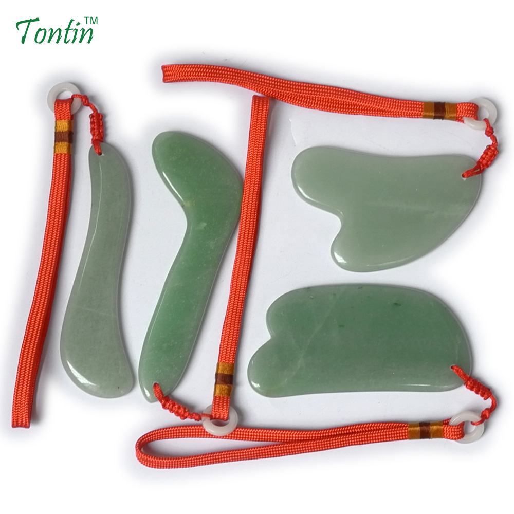TONTIN NEW Acupuncture Massage Guasha Tool SPA Beauty kit Natural Aventurine 4 pcs/set (1pcs L 1pcs S 1pcs Y 1pcs knife) термопот supra tps 3003 760 вт 4 л пластик белый