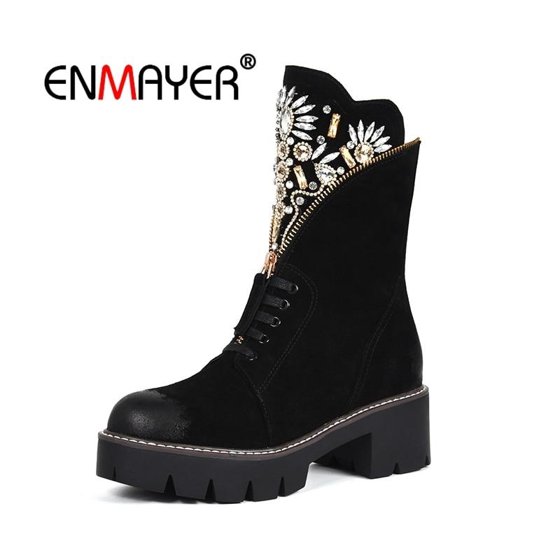 ea8493d036f7b8 Épaisse D'hiver Bout brown Lacets Femme Bottines Cheville Black Enmayer  Chaussures Éclair Daim Bottes Fermeture Talon ...