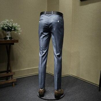 mens dress pants blue striped slim fit suit pant fashion wedding groom wear business office gentle man trousers large size 36
