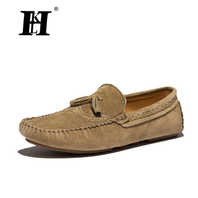bf0a3041a8d HKL Men Lether Shoes Men Loafers Spring Relogio Masculino Mens Flats Shoes  Action Leather Man Casual Masculino shoes