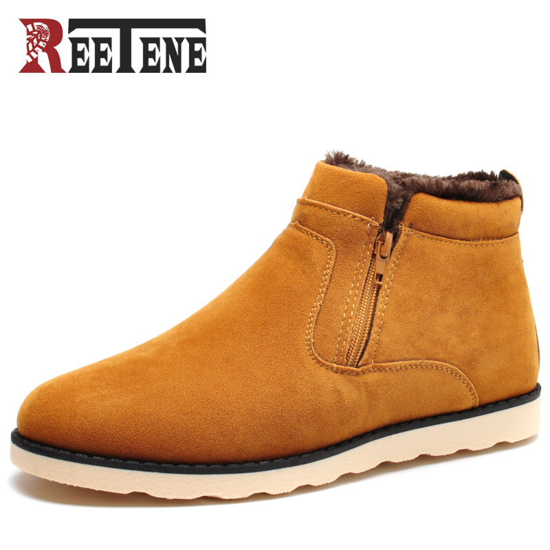 REETENE Winter Men Ankle Boots Casual Leather Footwear Warm Winter Fur Shoes Men Plush Men Boots 2017 New Snow Men Shoes 2017 genuine leather men boots winter shoes men waterproofs fur ankle plush warm snow boots men high quality mens winter shoes