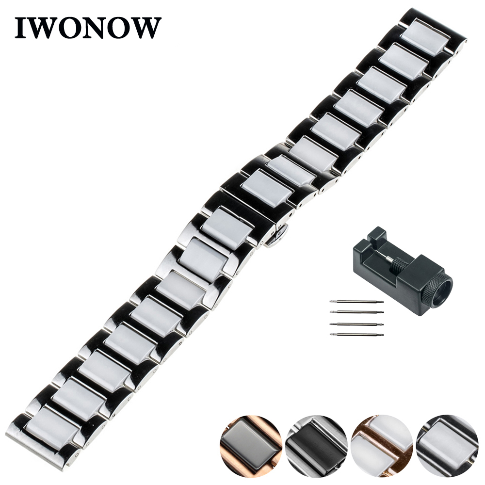 Ceramic Watch Band 20mm 22mm for Diesel Butterfly Buckle Strap Wrist Belt Bracelet Black Silver + Spring Bar + Tool silicone rubber watch band 20mm 22mm for luminox strap wrist loop belt bracelet high quality men women black tool spring bar