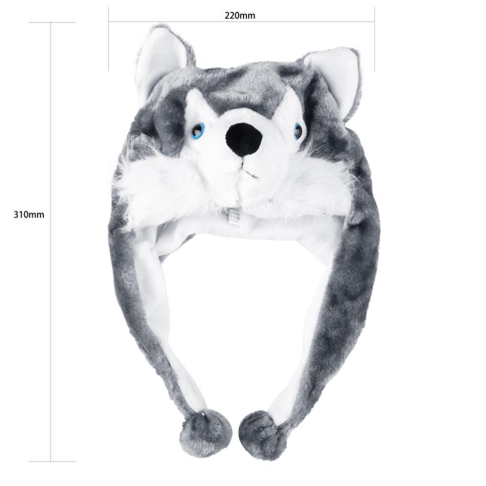 Cartoon Animal style Hood Wolf Hat Hoods Beanies Cute Fluffy kids Caps Soft Warm Scarf Earmuff Plush Huskies Hats 2016 Hot Sale 3