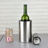 Double Wall Ice Bucket Cooler Stainless Steel Ice Bucket Practical Bar Container Barrel Beer Wine Cooler