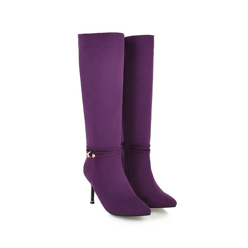 43 Nemaone 42 Talons Haute Femme Noir pourpre Super Chaussures Femmes Taille Nouveau Bottes 2019 Sexy Genou Violet Grande Noir rqZwtrIa