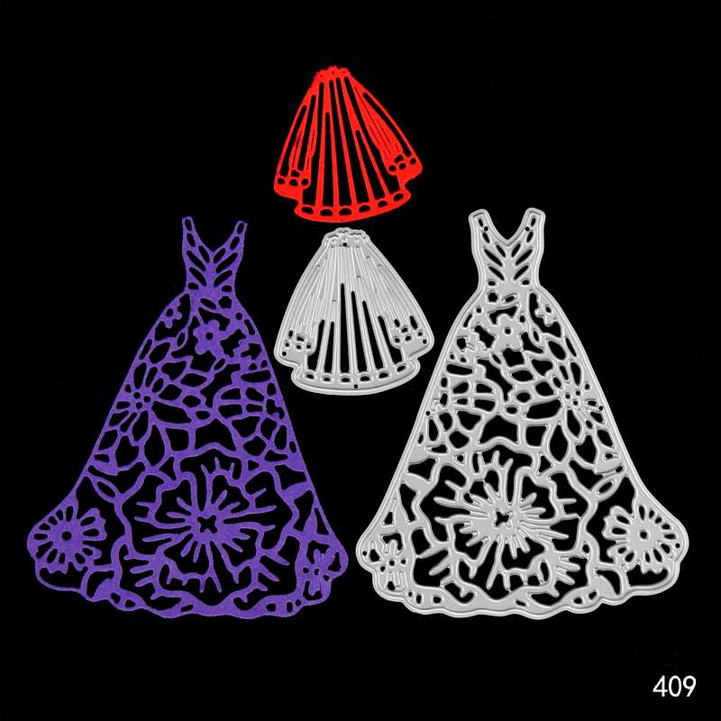 Wedding Dress Veil Metal Cutting Dies Seal for DIY Scrapbookingphoto Album Decorative Clear Stamp Sheets