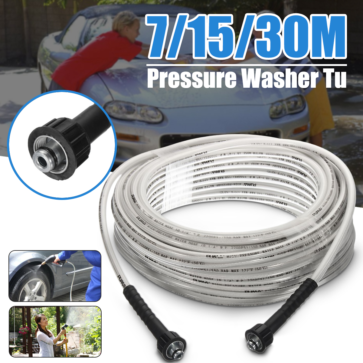 High Pressure 5/16 inch x 50Ft Electric Power Morflex Pressure Washer Hose 4000 PSI 7m/15m/30m Car Washer
