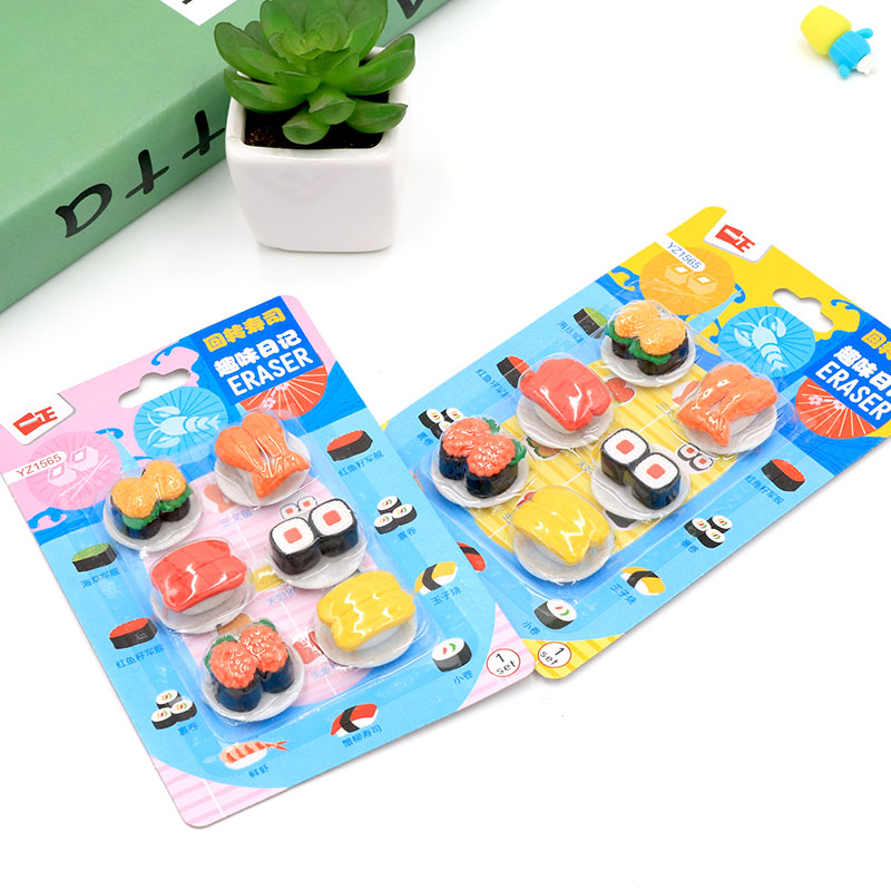creative cute sushi food card eraser student stationery erasers rubber eraser suit children gift in eraser from office school supplies on aliexpress com