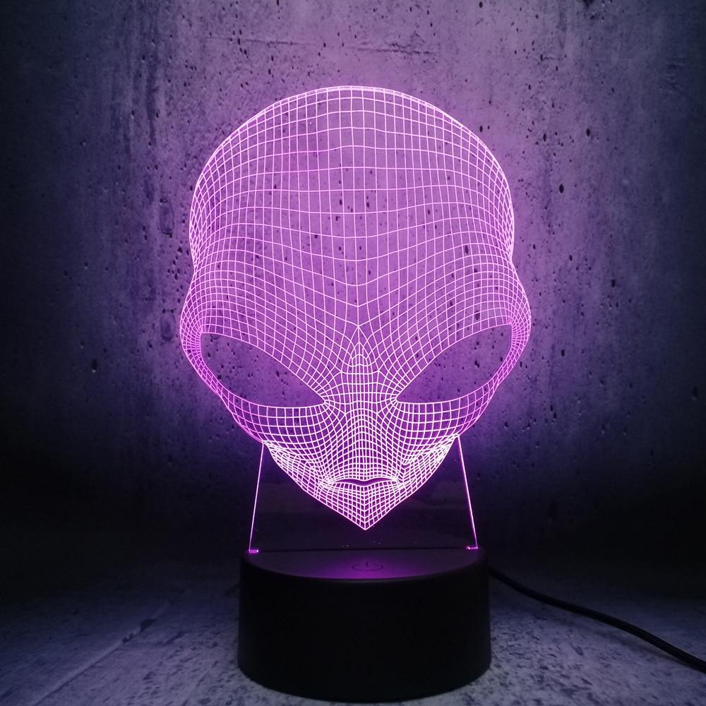 Alien Head 3D Lamp LED Lighting Illusion Cool Boy Bedroom ...