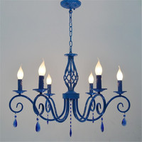 Blue Color Metal Crystal Chandelier E14 Candle Light Lamp European Classic Vintage Suspension Lighting Fixture