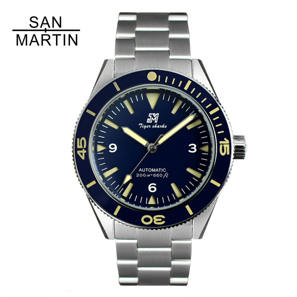 Diver-Watch Bezel Ceramic San Martin Automatic-Movement Stainless-Steel Water-Resistant