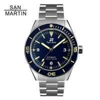 San Martin hommes Vintage en acier inoxydable plongeur montre mouvement automatique 200 résistant à l'eau en céramique lunette Relojes Hombre 2018