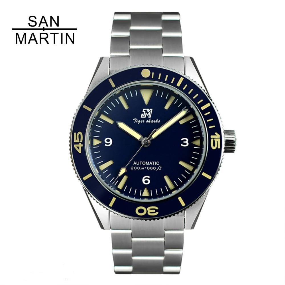 산 마틴 남자 빈티지 스테인레스 스틸 다이버 시계 자동 운동 200 방수 세라믹 베젤 relojes hombre 2018-에서기계식 시계부터 시계 의  그룹 1