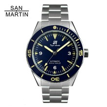 San Martin Men Vintage Stainless Steel Diver Watch Automatic