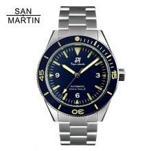 San Martin mężczyźni stal nierdzewna vintage zegarek dla nurka mechanizm automatyczny 200 wodoodporna ceramiczna ramka szkiełka zegarka Relojes Hombre 2018