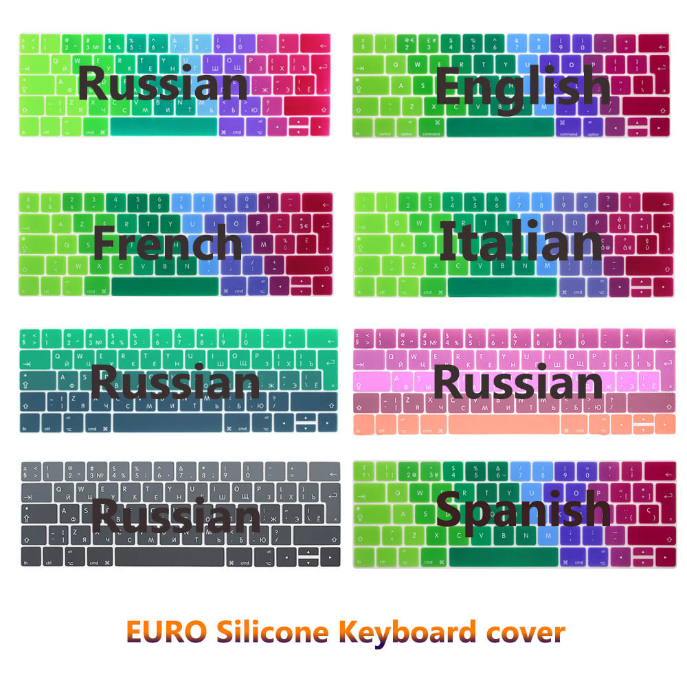 Gradient Rainbow Waterproof EU/UK Layout Keyboard Protector Cover Stickers Skin For Macbook Pro 13 15 with Touch bar 2018 russian layout keyboard cover for macbook pro 13 15 with touch bar silicone skin for new macbook 2016 a1706