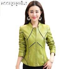 Осенне-зимняя женская кожаная куртка плюс размер PU искусственная кожа кожаное пальто женское черное/красное/зеленое Короткое женское пальто Верхняя одежда M-4XL