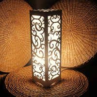 LED Decorative Table Lamp Vintage Wood Plastic Rustic Style Brief Modern Lampshade Living Room Bedroom 110