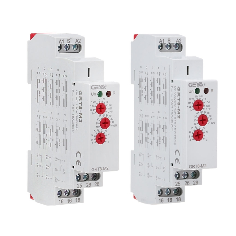 AC/DC 3 Knob Multi-Function Din Rail Auto Timer Delay Relay 1SPDT 2SPDT Control SwitchAC/DC 3 Knob Multi-Function Din Rail Auto Timer Delay Relay 1SPDT 2SPDT Control Switch