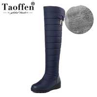 TAOFFEN Russia Winter Boots Women Warm Knee High Boots Round Toe Down Plush Fur Ladies Thigh Snow Boots Shoes Woman Size 35 44