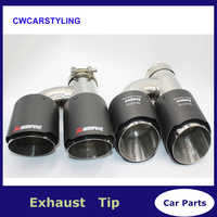 (Left+Right ) Dual Exhaust Tip for AKRAPOVIC AK carbon fiber tail tip universal quad exhaust pipe tail tip