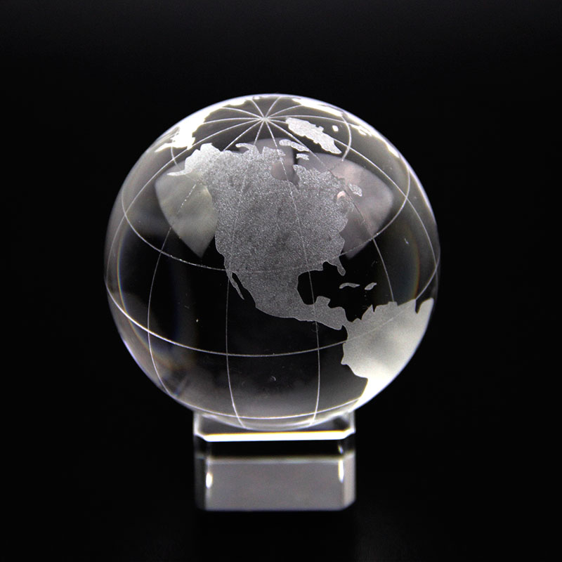 60mm crystal glass global ball world map asian quartz marbles sphere