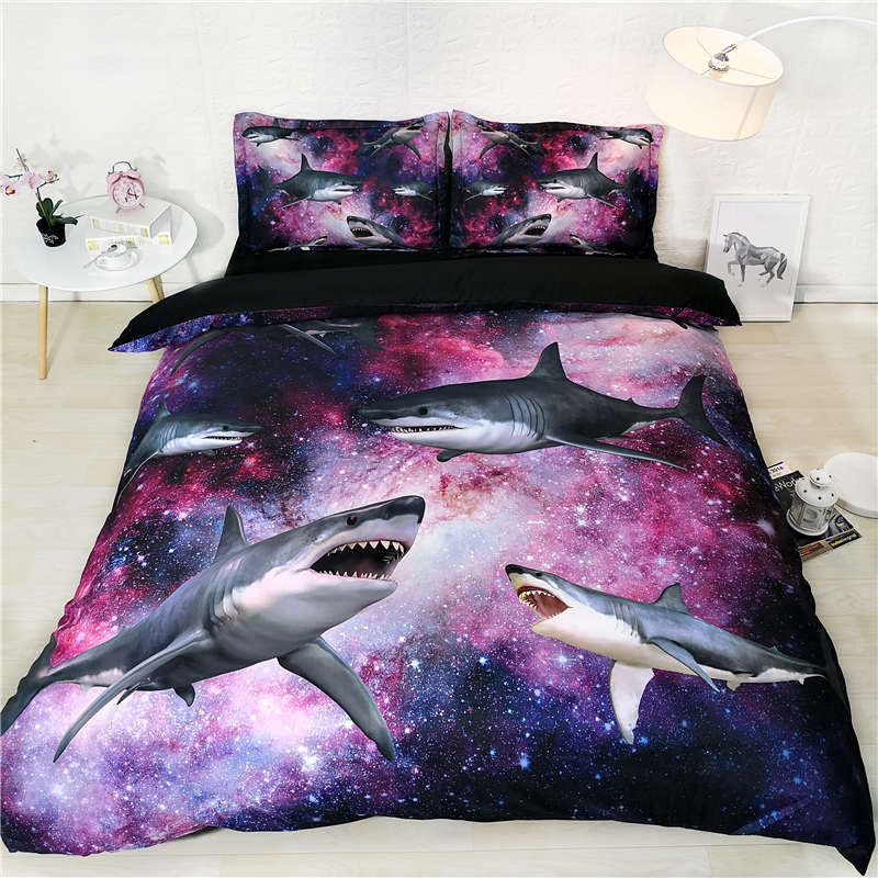 galaxy shark bedding set 3d king universe animal comforter cover twin size bed sets for kids wedding home decoration accessories|Bedding Sets| |  - title=
