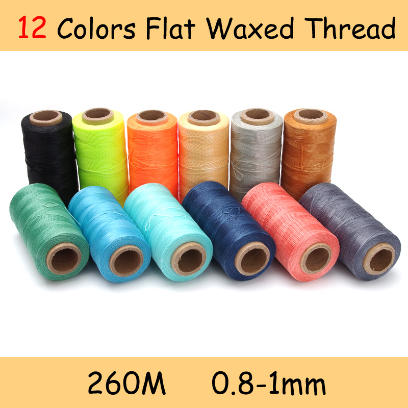 12 väriä 260m 1mm litteä vahattu vahajohto lanka 150D / 16 johdon ompelu käsityökalu käsin ompeleminen DIY-nahalle