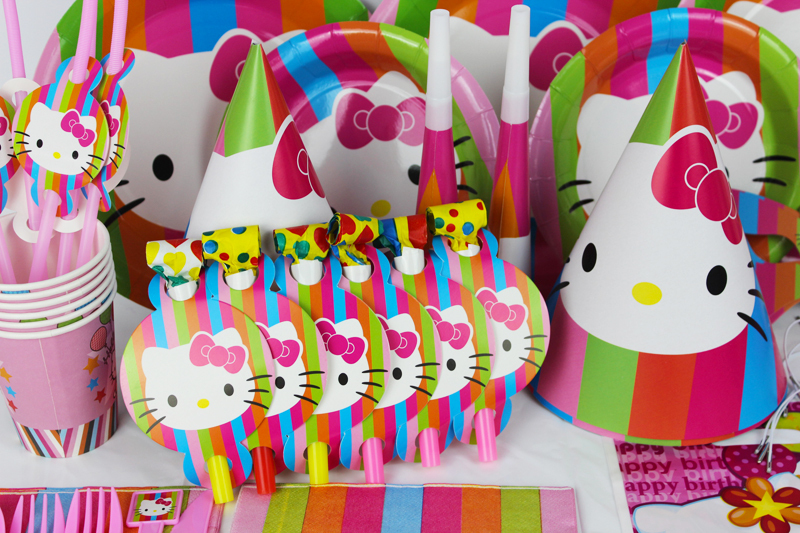 78pcs For 6 Personerl Cut Kitty Cat Theme Party Items Girls Baby Birthday Decorations Suit Event Supplies In Disposable Tableware From