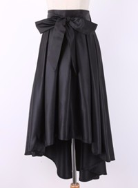 black bow satin skirt