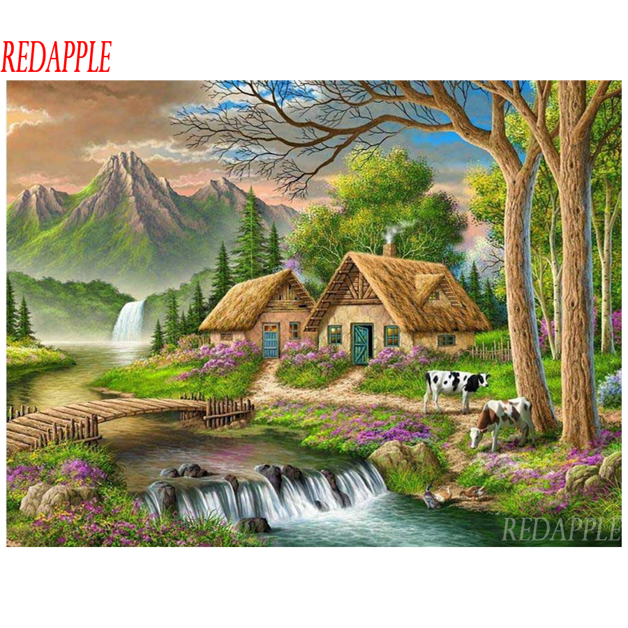 DIY 5D Diamond Painting Village House Embroidery Cross Stitch Kits Home Decor