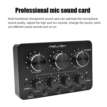 FELYBY Brands High Quality Multi-function Live Sound Card For Microphopne Recording Supports Mobile Phones And Computers