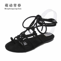 Women Flat Heels Sandals 2019 Gladiator Lace Up Flip Flops Sandals Women Fashion Butterfly Knot Ankle Strap Hollow Sandasl
