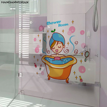 цена на Lovely Beauty Cartoon Bathroom sticker Creative fashion TOILET waterproof Bathroom sticker Removable wall sticker