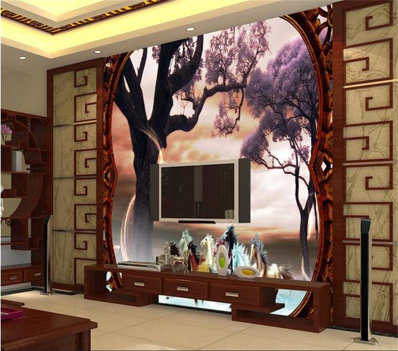 3D room wallpaper mural tree forest horse photo custom non-woven sticker room sofa TV background painting wallpaper for wall 3D 3d room photo wallpaper custom mural moth orchid 3d photo painting room sofa tv background wall wallpaper non woven wall sticker