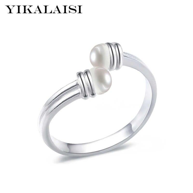 YIKALAISI 925 เงินสเตอร์ลิงไข่มุกน้ำจืดธรรมชาติมุกเครื่องประดับInterlacedแหวนแฟชั่นเครื่องประดับสำหรับผู้หญิง 6-7 มม.