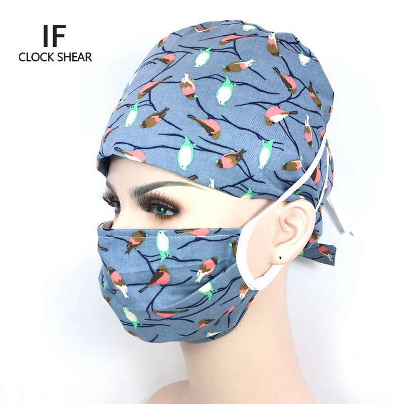 IF pet hat New Lab Hospital medical Surgical Cap 100% cotton Printed Medical Scrub Operation Caps adjustable one size bird