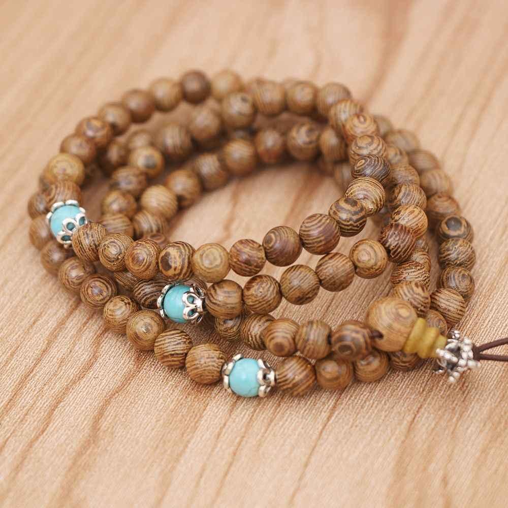 108 חרוזים צמיד 6mm טבעי אלמוג בודהיסטי בודהה עץ ביד Mala יוניסקס גברים צמידים & צמידי תכשיטי Bijoux