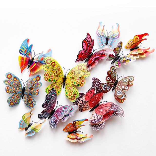 12pcs/lot 3D Double Layer Butterfly Wall Sticker for Bedroom Party Curtain Fake flower Decor PVC Butterflies Decal with Pin DC28