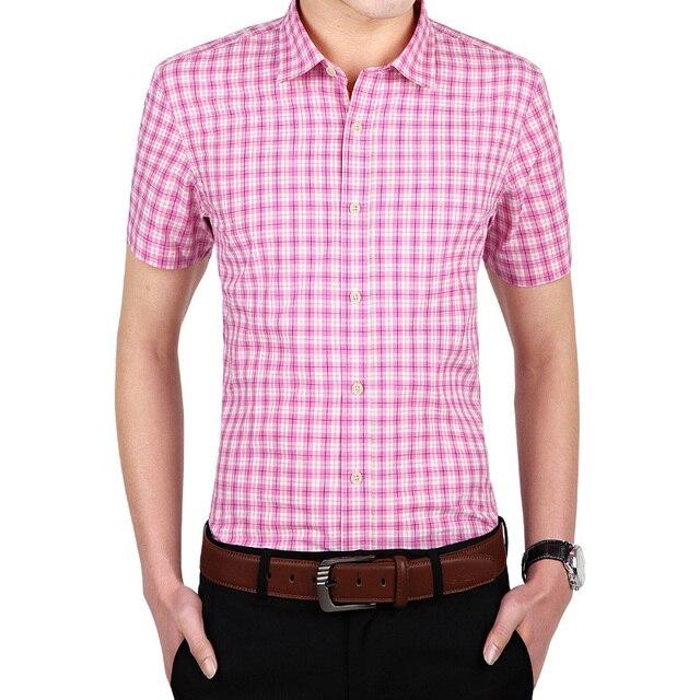2016 Latest Fashion Mens pink Shirts Tencel Man Casual Plaid ...