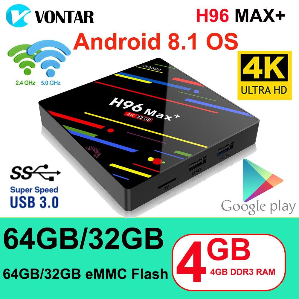 H96 MAX Plus Smart TV caja Android 8,1 TVBOX 4 GB/64 GB 4 GB/32 GB Rockchip RK3328 1080 p 4 K USB3.0 Netflix Youtube pk caja superior T9