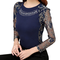 Blouse Shirt Cotton Lace Patchwork Long Sleeve 2016 Autumn Women Blouses Elegant Diamonds Basic Shirts Female Clothing S2841
