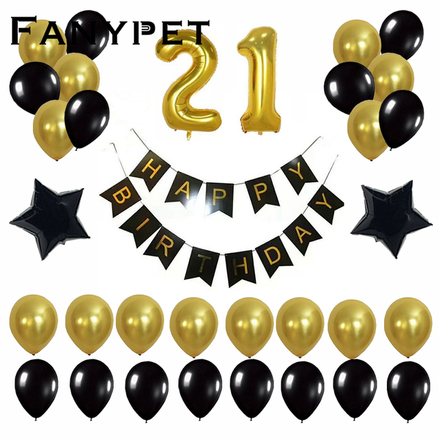 45pcs 40inch Gold Number 21 18 25 30 50 Years Old Birthday Balloons Party Decoration Black Banner Decor Celebrations