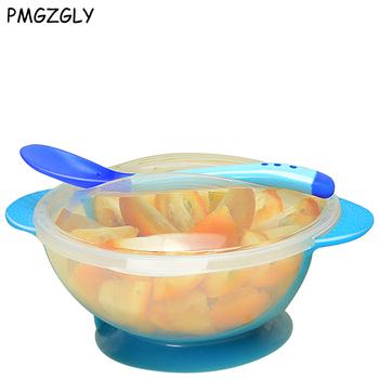 3 sztuk zestaw dziecko łyżka miska nauka naczynia miska na karmę łyżka z czujnikiem temperatury dziecko zastawa stołowa żywność dla niemowląt miski do karmienia dziecka naczynia tanie i dobre opinie KEYBOX Silikonowe Dzieci BPA za darmo Lateksu Obiadowy Stałe Zestaw obiadowy Baby Dishes Ce ue
