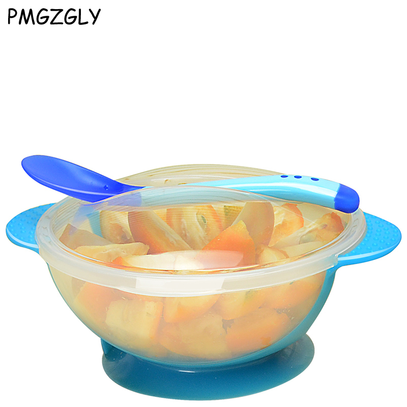 3Pcs set Baby Spoon Bowl Learning Dishes food Bowl Temperature Sensing Spoon Baby Tableware baby food Baby Feeding Bowls dishes baby bowl spoon fork feeding food tableware cartoon panda kids dishes baby eating dinnerware set anti hot training bowl spoon