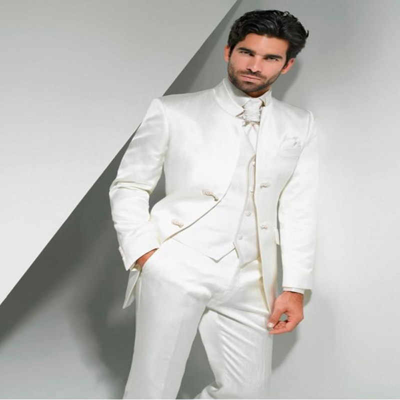 2017 New Arrival Groom Tuxedos Mandarin Lapel Men's Suit White Groomsman/Best Man Wedding/Prom Suits(Jacket+Pants+Tie+Vest)