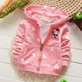 Розничная 2016 новая девочка Толстовки Пальто Hello Kitty Кардиган Куртки Детской одежды Дети толстовки 0-3age 7 Цвет
